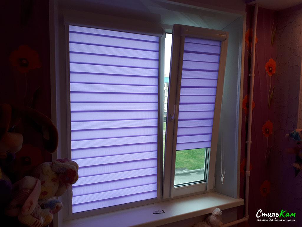 фиолетовые рулонные шторы день-ночь