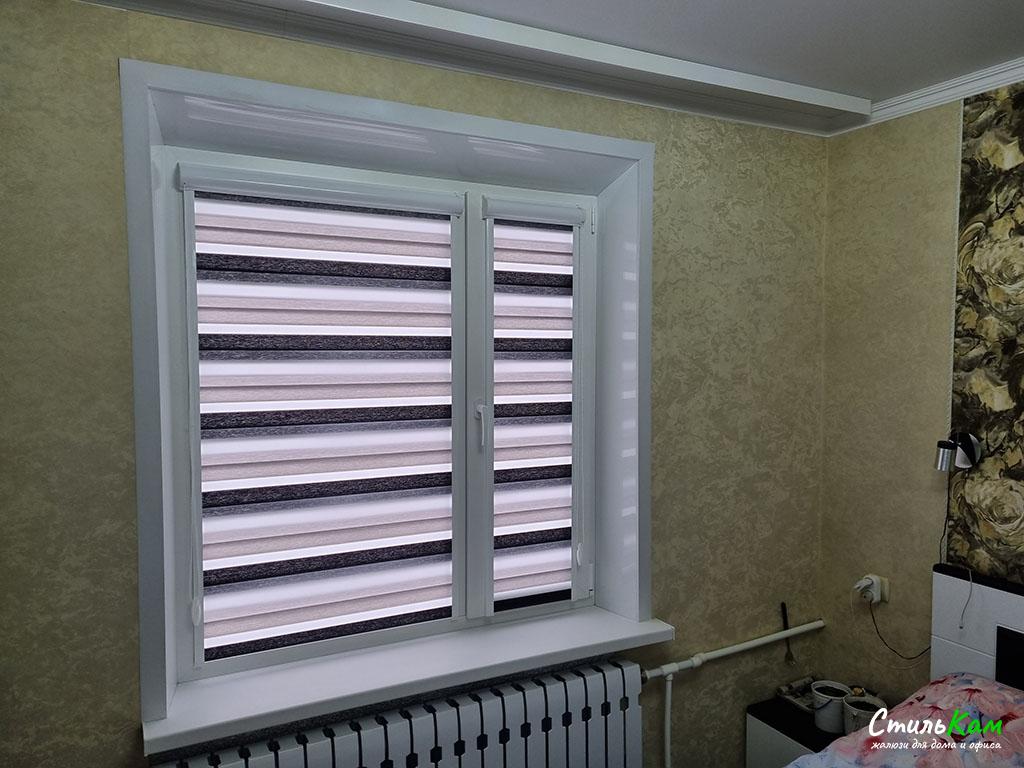 рулонные шторы день-ночь на окно в спальню