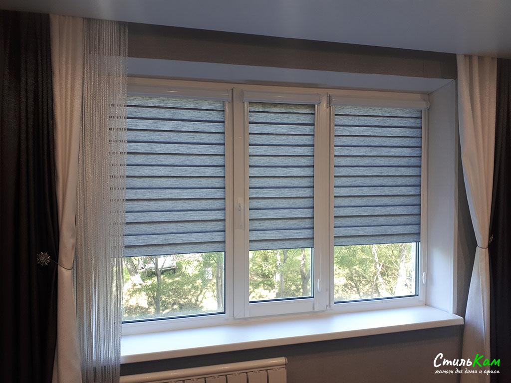 рулонные шторы день-ночь на окно из трёх створок