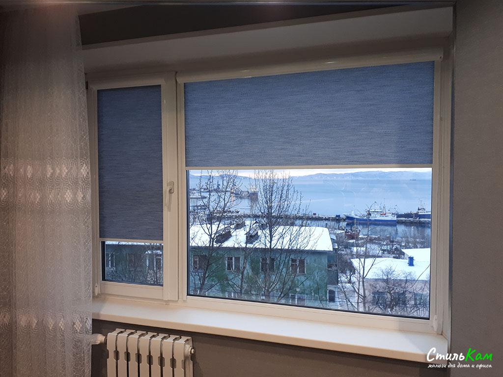 рулонные шторы uni на большое окно