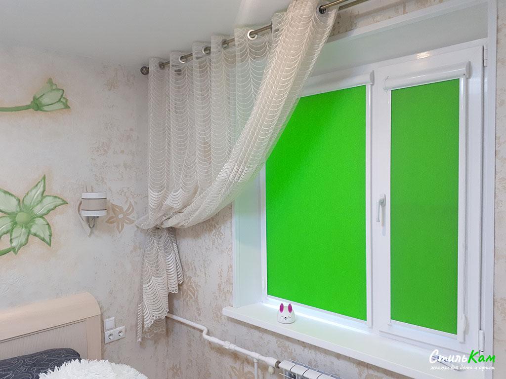 рулонные шторы uni зеленые